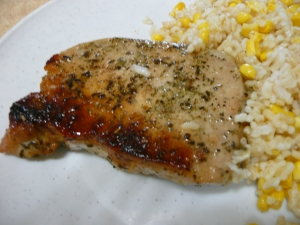 Honey flavored pork chops
