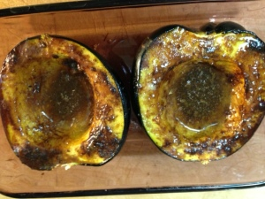 Acorn Squash with Autumn Spice Blend, brown sugar and butter.