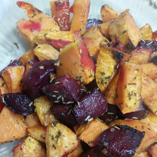 sweet potatos and beets with sweet orange
